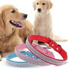Synthetic Leather Dogs Pets Harness Shiny Rhinestone Pet Collar C1MY
