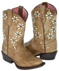 """Girls Kids Full Almond Flower Floral Embroidery Leather Cowboy Boots Snip Toe"""