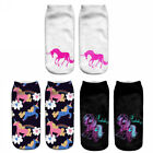 3Pair Hot 3D Unicorn Print Men Women Casual Low Cut Ankle Socks Cotton Animals