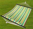 Heavy Duty Double Size Hammock Quilted Fabric with Pillow Spreader Bar Hang Bed