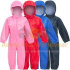 KIDS Waterproof All In One Coverall Rainsuit Puddle Wet Suit Boys Girls Playsuit