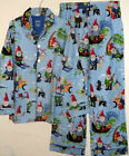 NEW  NICK & NORA FLANNEL PAJAMA SET TRAVELING GNOME PRINT  MENS sz M