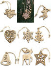 Wooden Christmas tree decorations packs of 3 the same or 3 mixed