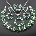 FAHOYO Unique Green Emerald CZ 925 Sterling Silver Women Jewelry Sets QS0414