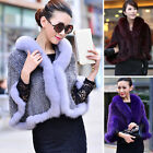 Womens New Real Knitted MINK Fur Coat Jacket Fox fur collar cape Poncho Parka