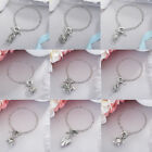 26Styles Women Hollow Silver Owl Pistol Pumpkin Pendant Chain Bangle Bracelet