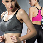 Women Fitness Stretch Sport Zipper Bra Gym Yoga Padded Running Workout Tank Tops