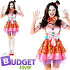 Colourful Carnival Clown Girl Womens Ladies Fancy Dress Circus Adult Costume New