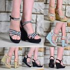 LADIES SPARKLY GLITTER DIAMANTE WEDGE PARTY PLATFORM PEEP TOE STRAPPY SANDALS