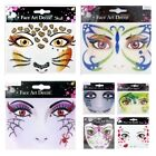 Stick-On Face Art Tattoo Sticker Glittery Your Choice Butterfly Leopard  More