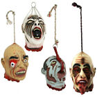 HANGING SEVERED HEADS PACK OF 4 LIFE SIZE RUBBER LATEX HALLOWEEN PROP DECORATION