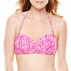 Stylus Print Push-Up Bandeau Swim Top Size M Msrp $40.00 New Pink Multi