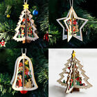 3D Xmas Tree Pendants Hanging Wooden Christmas Decoration Home Party Decor Top