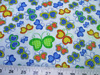 Discount Fabric Quilting Cotton Multi-Colored Butterflies on Light Blue 402K