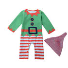 2PCS Kids Baby Boys Girls Newborn Romper Jumpsuits +Hat Clothes Christmas Set