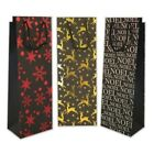 4 x Christmas Xmas Black Wine Bottle Present Gift Bags Red Gold Or Silver Design