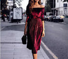 Sexy Womens Off Shoulder Velvet Dress Long Sleeve Party Cocktail Ladies Dress