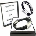 Leather Stainless Steel Engraved Wrap Bracelet Personalised Box Christmas Gifts