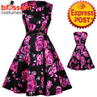 K329 Floral Flower Retro Rockabilly Vintage Party 50s Swing Dress Evening Pin Up