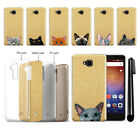 For Huawei Ascend XT H1611 Cat Design Slim Sparkling Gold TPU Case Cover + Pen