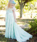 Sky Blue Lace Flower Girl Birthday Dress Straps Wedding Girls Party Pageant Gown