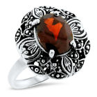 VICTORIAN GENUINE 2 CT GARNET 925 STERLING SILVER ANTIQUE STYLE RING, #1095