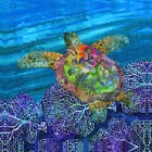 NEW Sea Turtle Blue Ocean Purple Reef Batiks Beach~ Fabric Quilt Square Panel