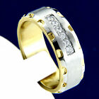 Wedding Band 0.06 carat CZ Stones Stainless Steel Mens Engagement Ring