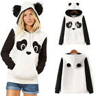 Womens Panda Fleece Hoodie Sweatshirt Hooded Pullover Tops Blouse Jumper Coat YG