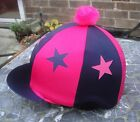 Riding Hat Silk Skull cap Cover NAVY BLUE & HOT PINK * STARS  With OR w/o Pompom