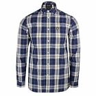 LYLE & SCOTT SHIRT POPLIN MENS NAVY OFF WHITE CHECK LONG SLEEVE TOP