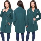 Ex Chainstore Ladies Womens Green Faux Wool Winter Biker Zipped Coat Jacket 8-22