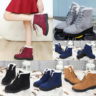Lot Women Winter Flat Lace Up Fur Lined Martin Boots Snow Ankle Boots Shoes PD