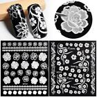 3D Black Nail Art Stickers Flowers Manicure Decals Tips Nail Wraps Self-adhesive