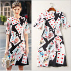 2018 new Occident round neck fashion playing CARDS printed lady knee dress SMLXL