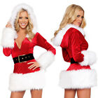 UK Sexy Santa Fancy Dress Costume Womens Christmas Xmas Claus Clubwear Outfit TY