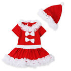 Girls Red Mrs Santa Christmas Dress Ages 1-6Y Short Sleeve Swing Party Dress
