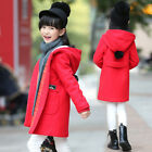 Hot Kids Girls Fashion Trench Hooded Long Sleeve Padded Winter Warm Coat Outwear