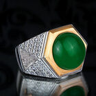 Mens Handmade Ring with Green Jade Natural Gemstone in SOLID 925 SILVER all sz