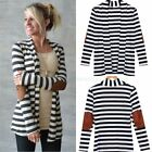 Women Sexy Cotton Strip Long Cardigan Long Sleeve Loose Sweater Jacket Outwear