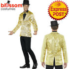 CA503 Mens Gold Sequins Jacket Stag Night Circus Ringmaster Mardi Gras Costume