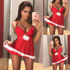 Sexy UK Christmas Sleepwear Underwear Women Lingerie Babydoll Dress Red Suit TY