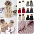 2X Mom Mother+Baby Knit Pom Bobble Hat Kids Girls Boys Winter Warm Cotton Cap AU