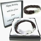 Mens Leather Bracelet Engraved Clasp Personalised Box Christmas Gift For Dad Son