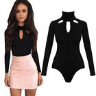 UK Womens Plain Halter Neck Bodysuit Leotard Top Stretch Long Sleeve Jumper TY
