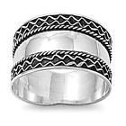 Bali Rope Polished Wide Thumb Ring New .925 Sterling Silver Band Sizes 5-13