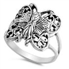 Oxidized Butterfly Heart Filigree Animal Ring Sterling Silver Band Sizes 5-9