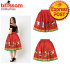 K473C Christmas Skirt High Waist Skater Retro Flared Xmas Rockabilly Vintage 50s