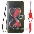 Bling Glitter Quicksand Hourglass Dynamic PU leather wallet Cover Cse & strap K