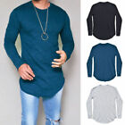 Mens Casual Long sleeve T-Shirt Cotton Longline Extended Irregular Basic Tee YG